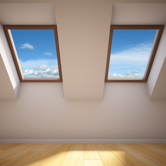two skylights in ceiling