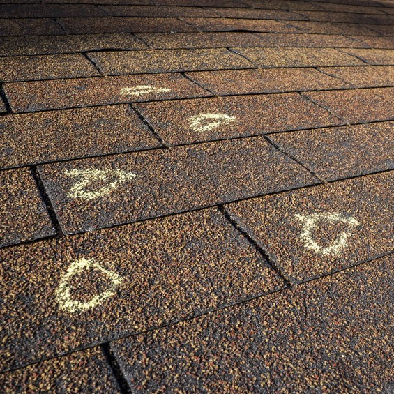 circled areas on a roof that need repair