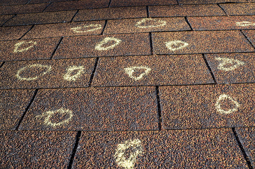 Emergency Roofing - Shingles with Hail Damage